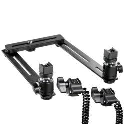walimex Makro Blitzschiene Basic mit Y-Kabel für Canon