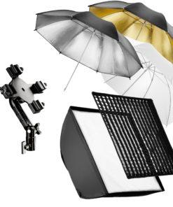 walimex 4-fach Systemblitz-Halter + Softbox & Schirme