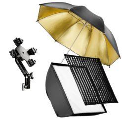 walimex 4-fach Blitzhalter mit Softbox und Schirm für Systemblitze