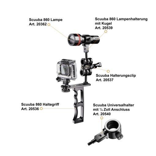 walimex pro Scuuba Alu-Lampenhalterung mit Kugel-Anschluss