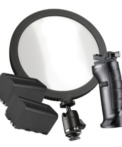 walimex pro Soft LED 200 Round Daylight mit 2 Akkus und Blitzhalter