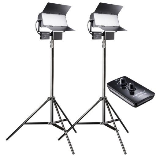walimex pro Sirius 160 LED Daylight 2er Set mit Stativ und Fernbedienung