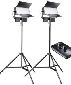 walimex pro Sirius 160 LED BiColor 2er Set mit Stativ und Fernbedienung