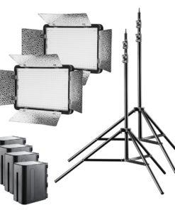 walimex pro LED 500 Versalight BiColor mit 4 Akkus und 2 Stativen