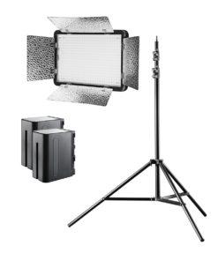walimex pro LED 500 Versalight BiColor mit 2 Akkus und Stativ