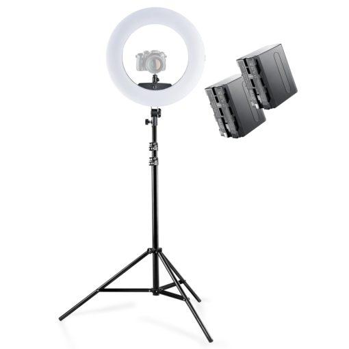 walimex pro LED Ringleuchte Medow 960 Pro mit Lampenstativ und 2 Akkus